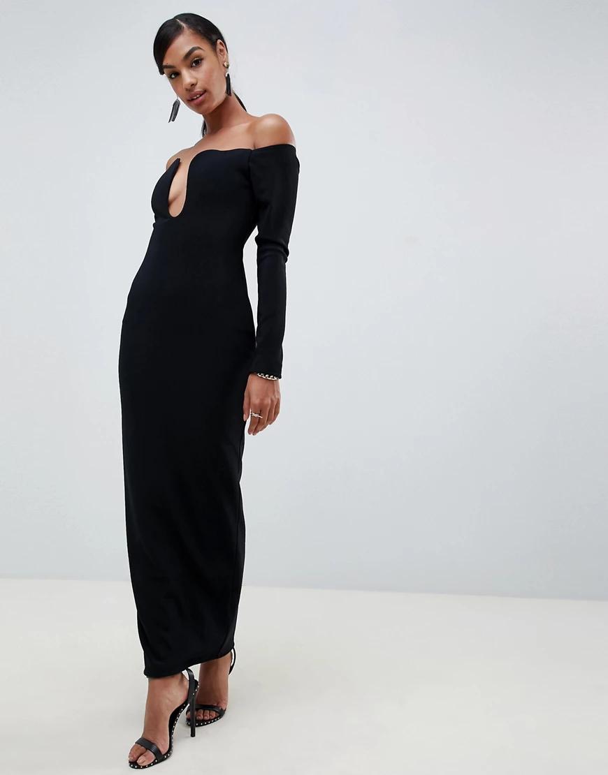 ASOS   Платье макси с открытыми плечами ASOS DESIGN-Черный   Clouty