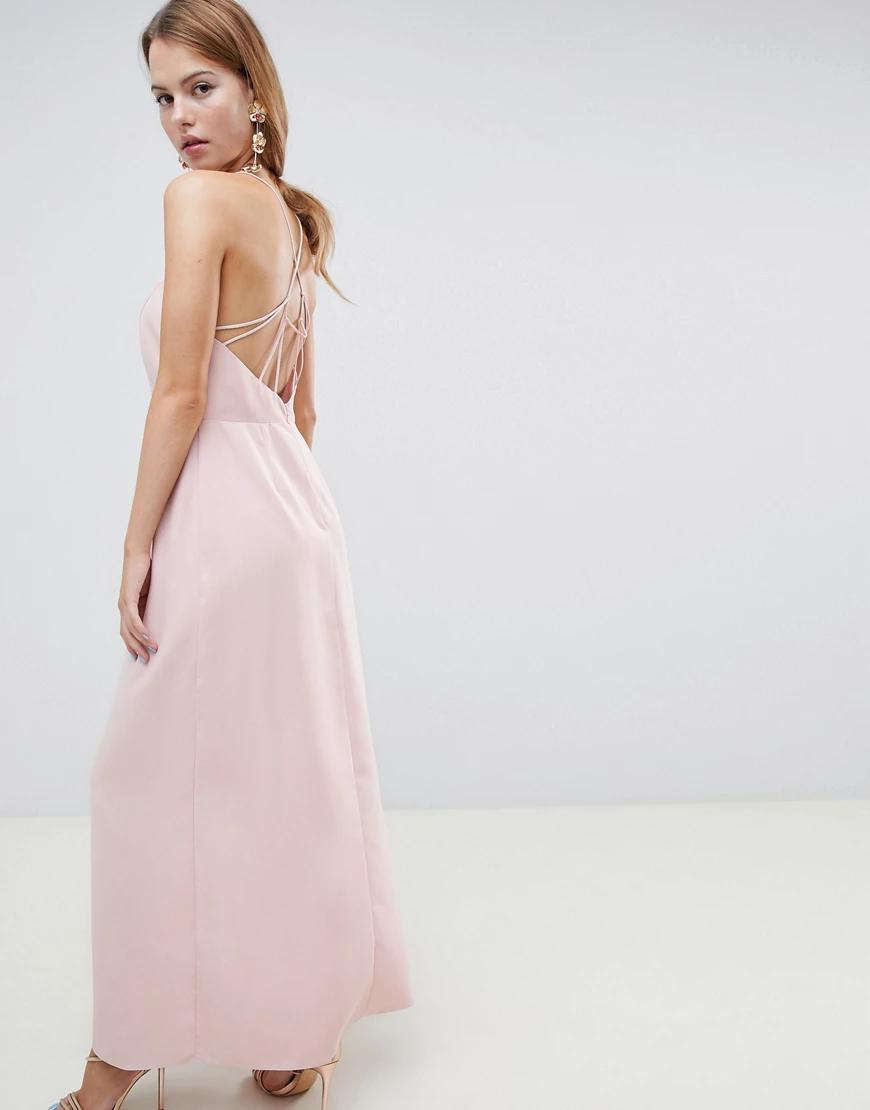 ASOS | Платье макси с открытой спиной ASOS DЕSIGN-Розовый | Clouty