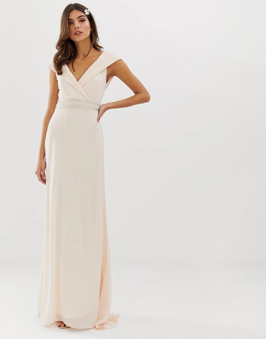 TFNC London   Платье макси с широким вырезом и отделкой на талии TFNC Bridesmaid-Poзoвый   Clouty