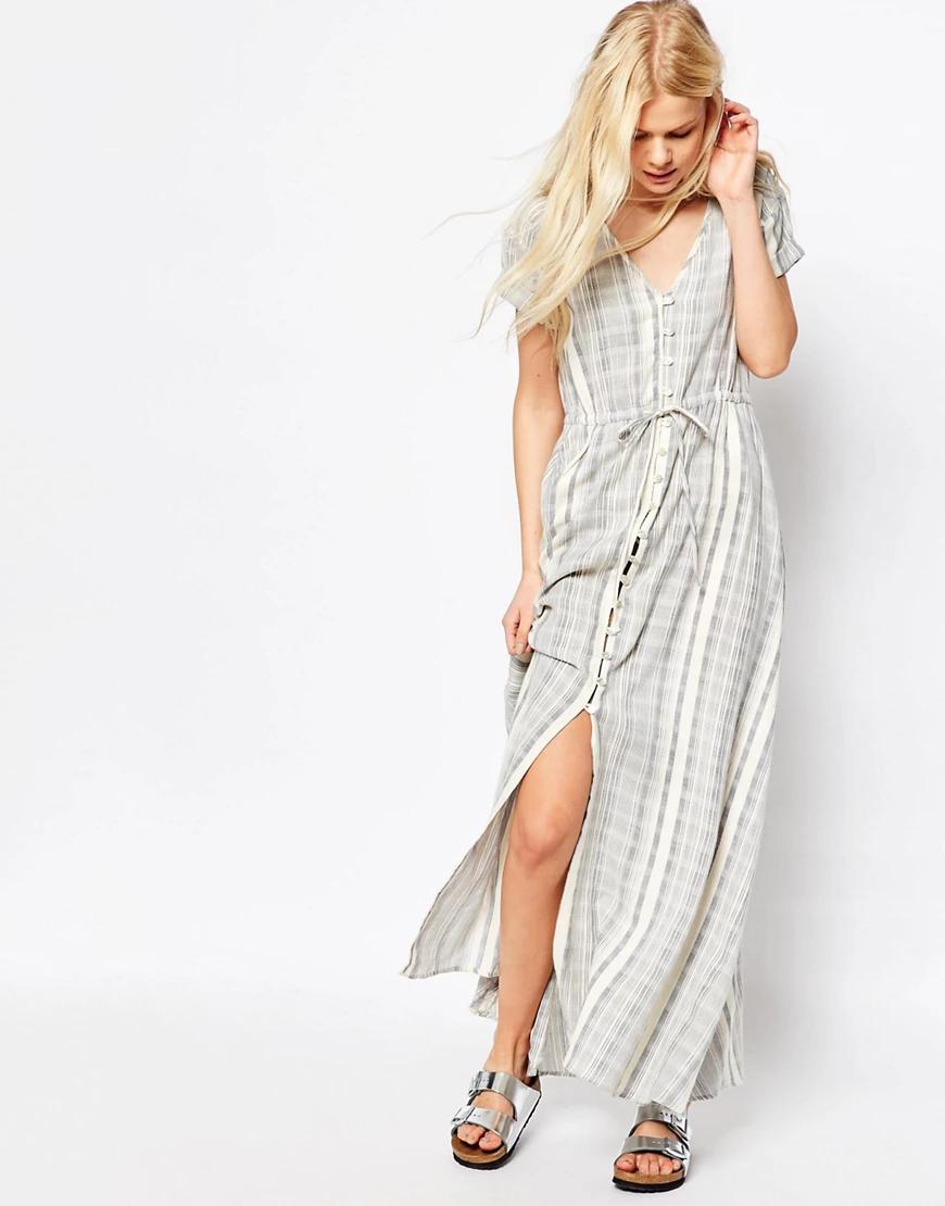 ASOS | Платье макси в полоску из натуральных волокон АSОS-Мульти | Clouty