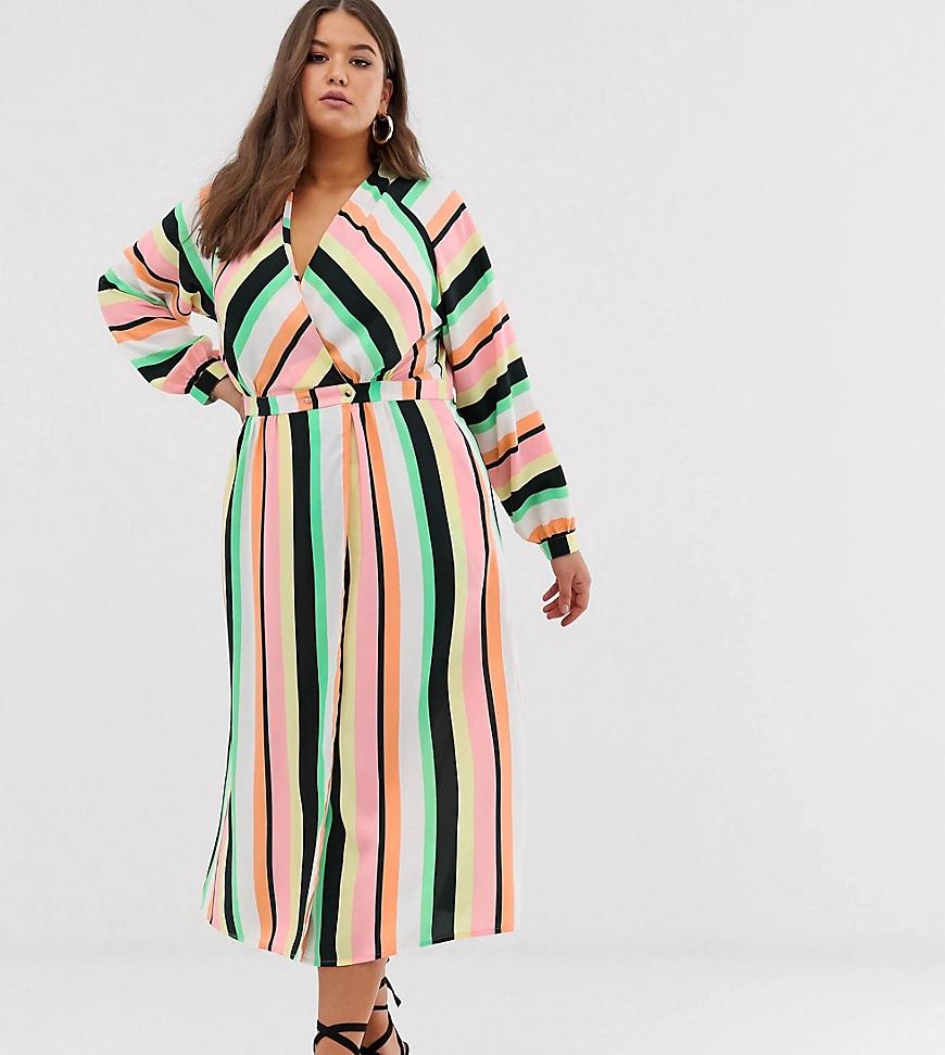 ASOS DESIGN | Платье макси в полоску с запахом ASOS DESIGN Сиrvе-Мульти | Clouty