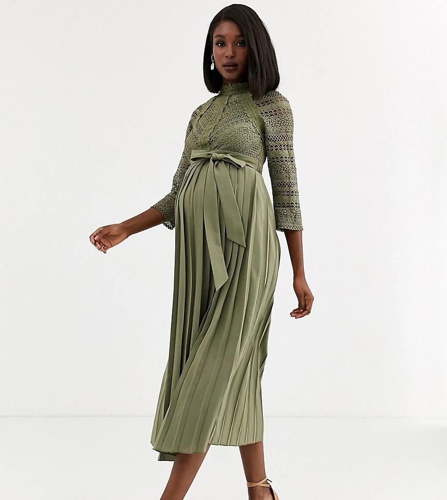 Little Mistress | Платье мидакси цвета хаки с кружевной отделкой Little Mistress Maternity-Зeлeный | Clouty