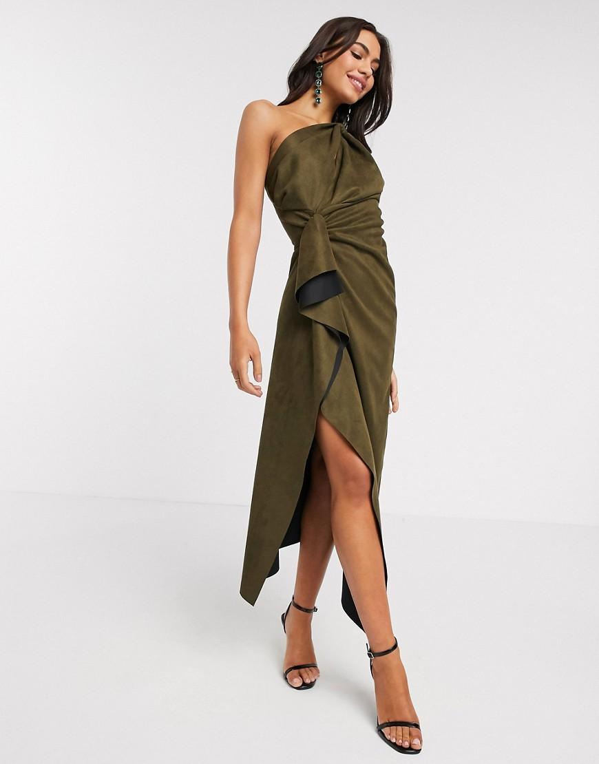 ASOS DESIGN | Платье миди цвета хаки на одно плечо из искусственной замши ASOS DЕSIGN-Зеленый | Clouty