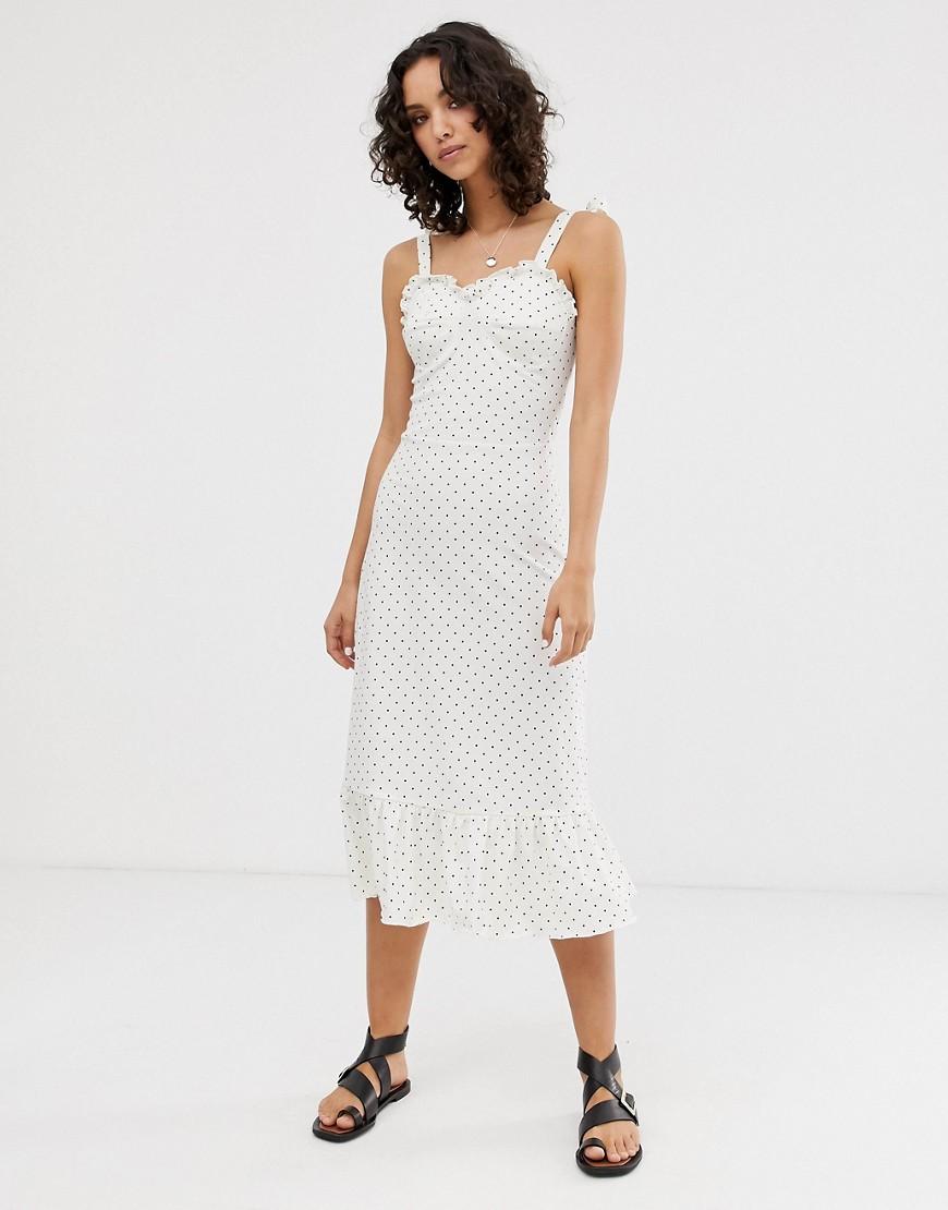 Only | Платье миди в горошек Опlу-Коричневый | Clouty