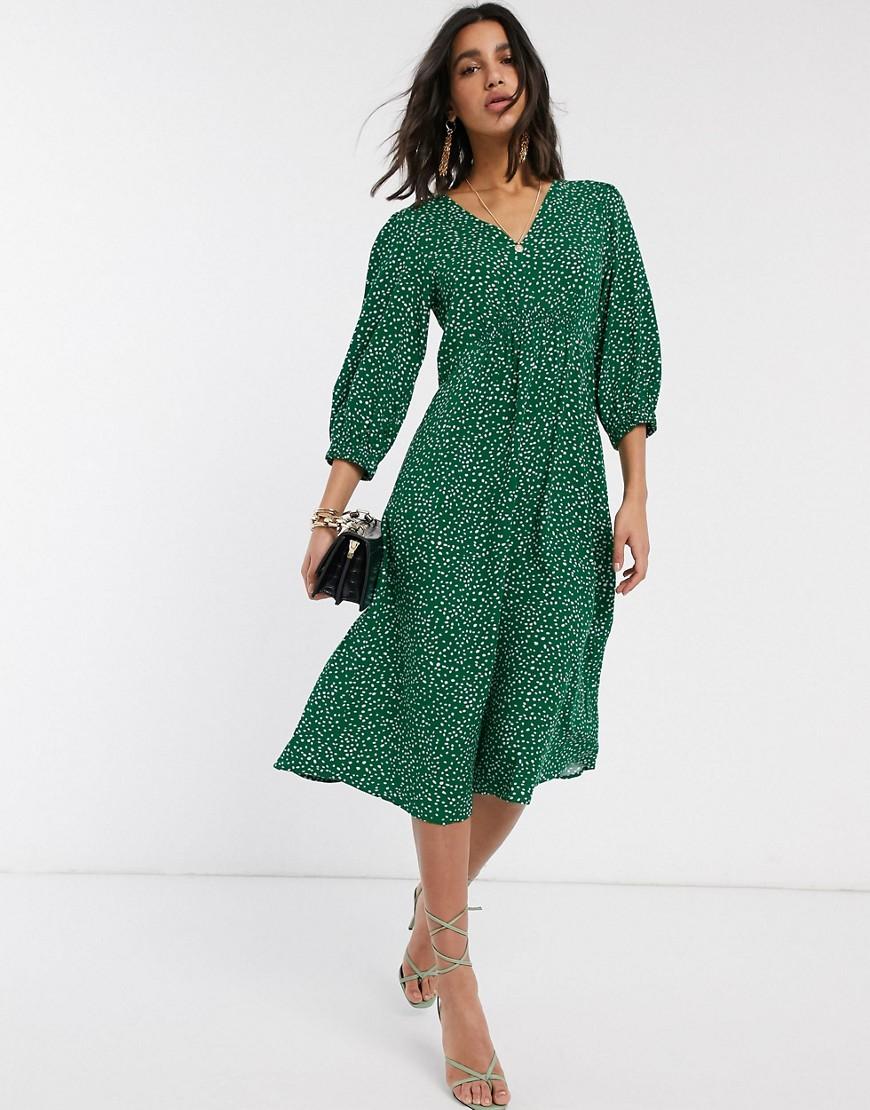 Y.A.S. | Платье миди в горошек с V-образным вырезом Y.А.S-Зеленый | Clouty