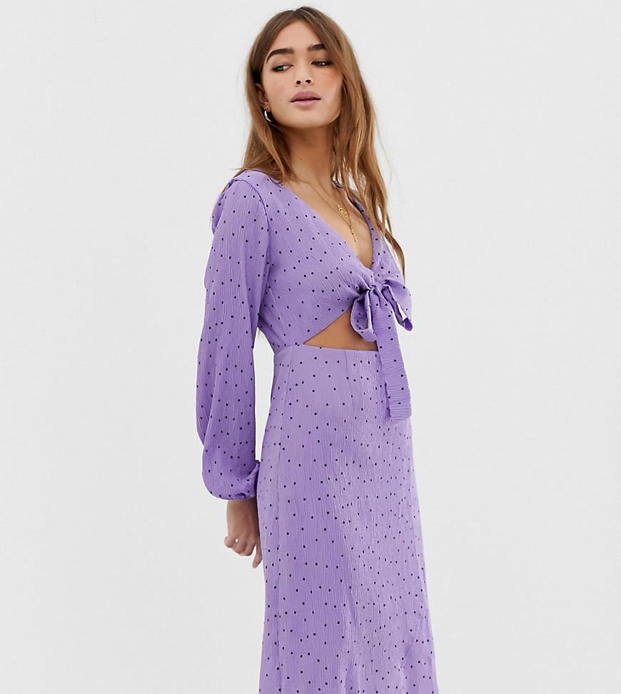 Glamorous   Платье миди в горошек с завязкой Glamorous Реtitе-Фиолетовый   Clouty