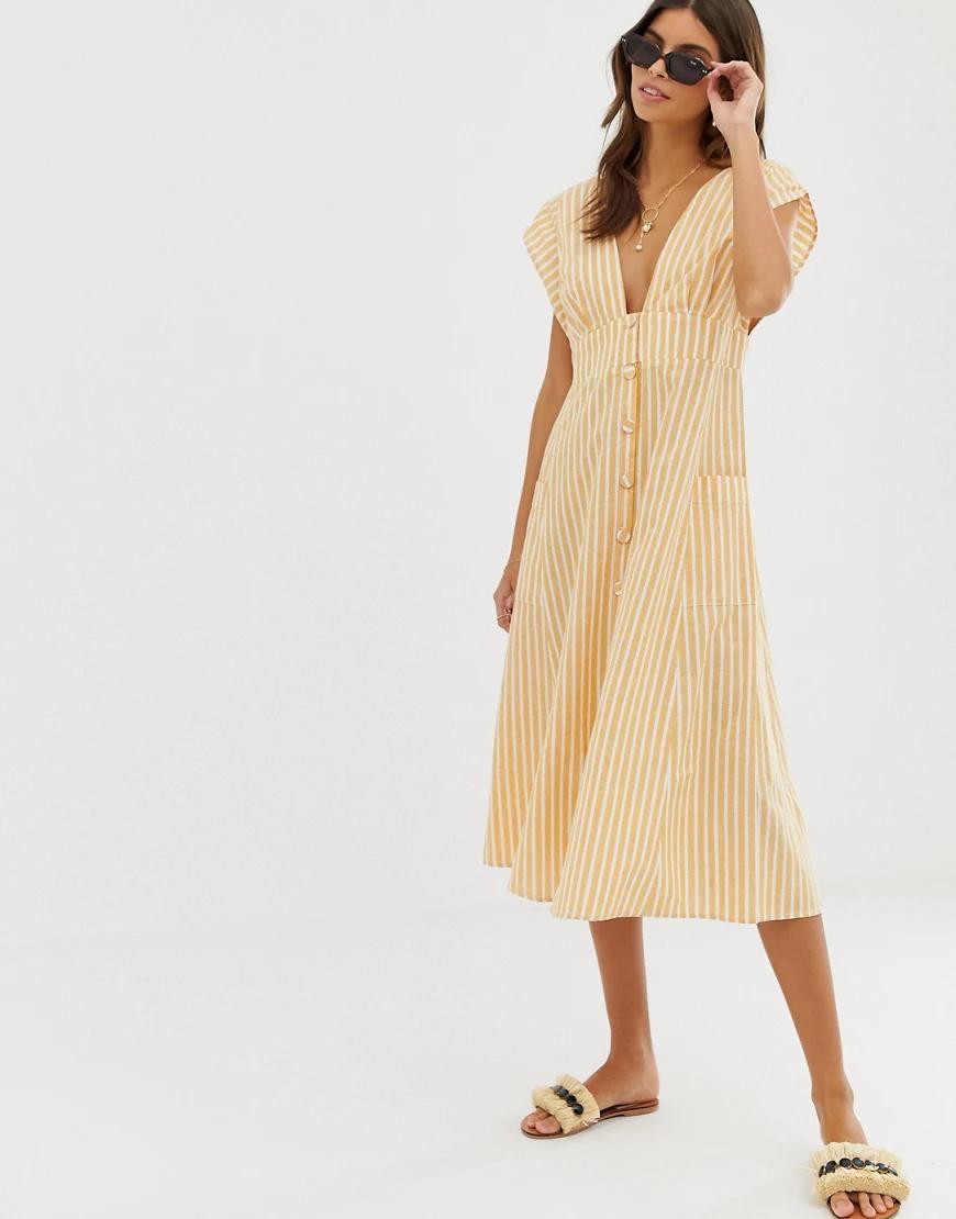 ASOS DESIGN | Платье миди в полоску с пуговицами, открытой спиной и карманами ASOS DESIGN-Мульти | Clouty
