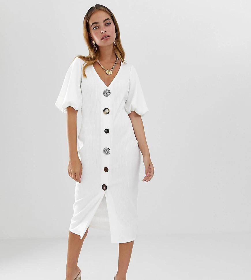 ASOS DESIGN | Платье миди в рубчик на пуговицах с пышными рукавами ASOS DESIGN Petite-Бeлый | Clouty