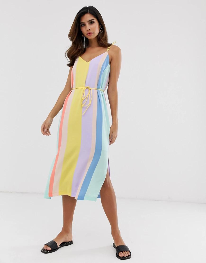 Y.A.S. | Платье миди в яркую полоску Y.А.S-Мульти | Clouty