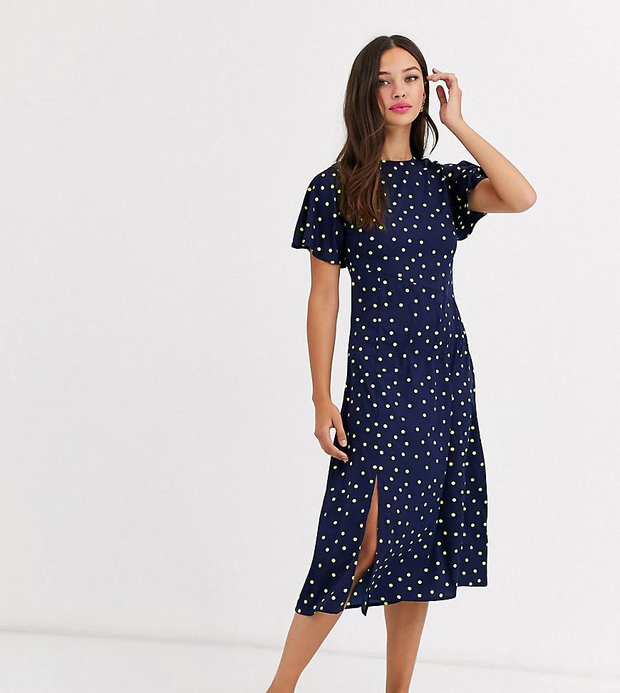 Wednesday's Girl | Платье миди А-силуэта в яркий горошек Wednesday's Girl-Темно-синий | Clouty