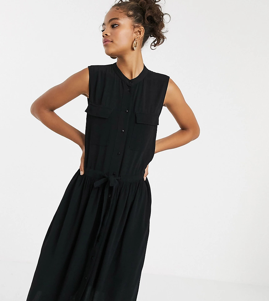Y.A.S.   Платье миди без рукавом с карманами Y.A.S Таll-Черный   Clouty
