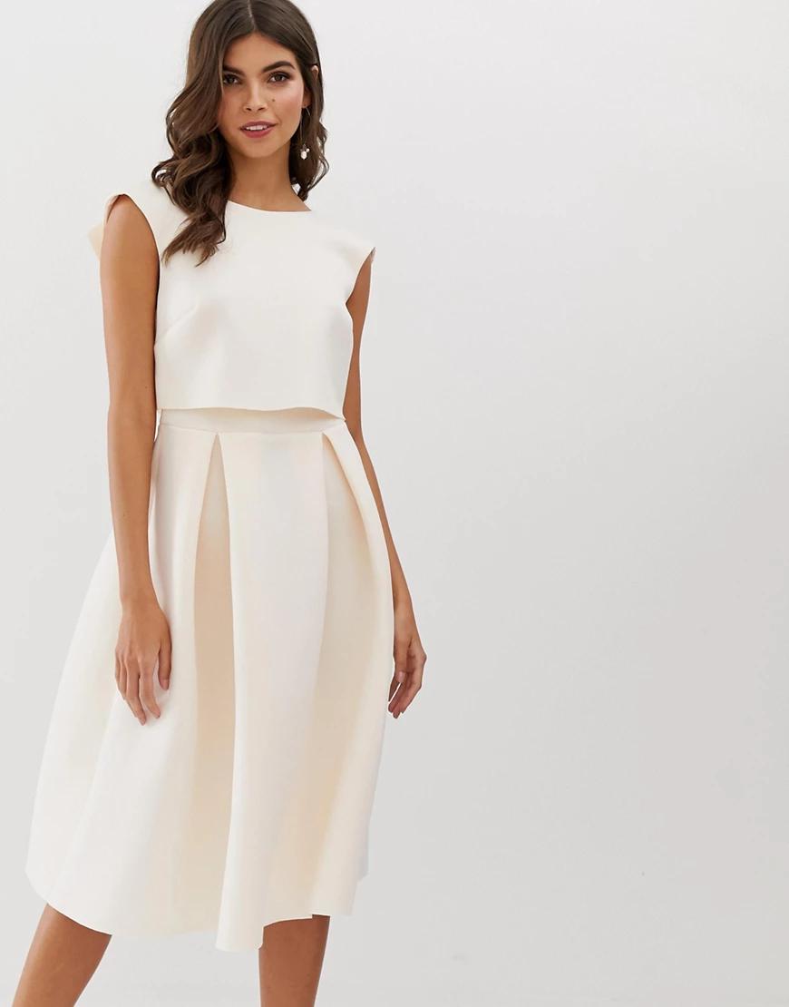 ASOS DESIGN | Платье миди для выпускного с укороченным топом ASOS DЕSIGN-Розовый цвет | Clouty