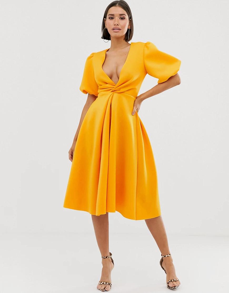ASOS DESIGN | Платье миди для выпускного с объемными рукавами ASOS DESIGN-Желтый | Clouty