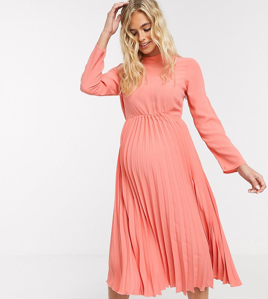 ASOS DESIGN   Платье миди кораллового цвета с плиссировкойASOS DESIGN Maternity-Poзoвый   Clouty