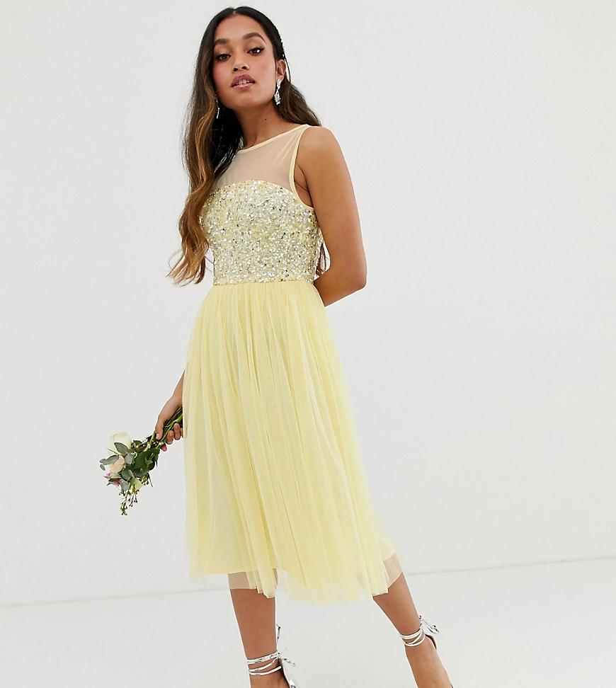 Maya | Платье миди лимонного цвета с сетчатым лифом и пайетками Maya Petite Bridesmaid-Жeлтый | Clouty