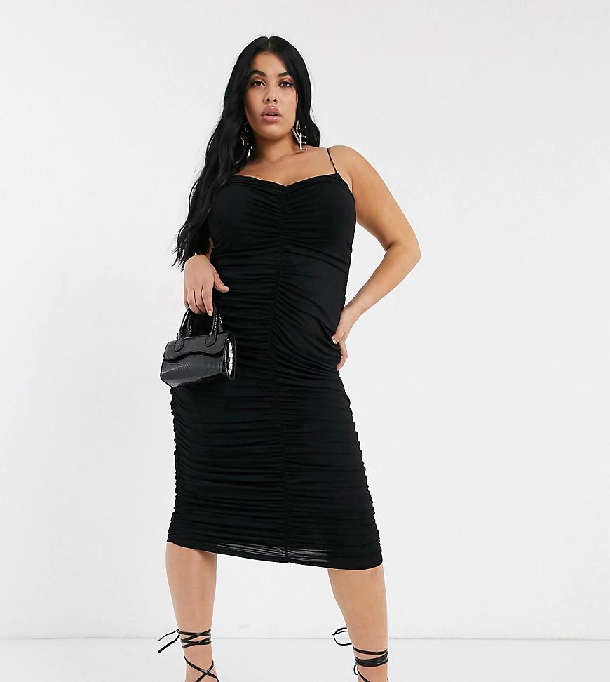 ASOS DESIGN | Платье миди на бретельках со сборками ASOS DESIGN Сиrvе-Черный | Clouty