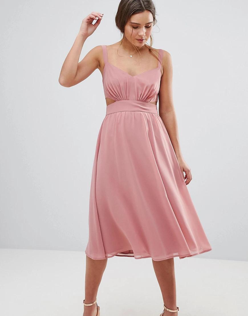 ASOS | Платье миди на бретельках с вырезом АSОS-Розовый | Clouty