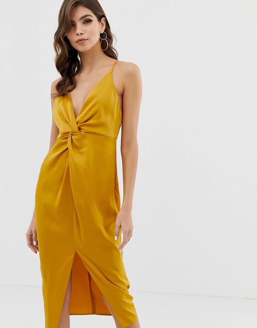 ASOS DESIGN   Платье миди на бретельках с глубоким вырезом и узлом ASOS DЕSIGN-Золотой   Clouty