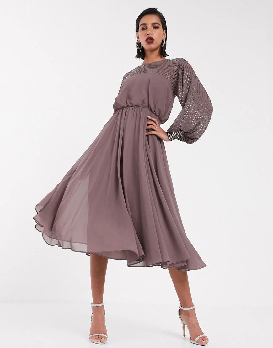 ASOS DESIGN   Платье миди с отделкой ASOS DESIGN-Мульти   Clouty
