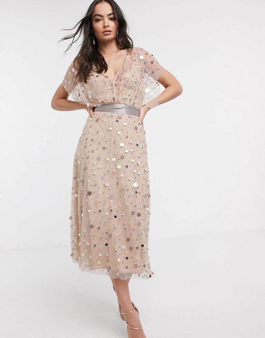 ASOS DESIGN | Платье миди с отделкой и завязкой ASOS DESIGN-Мульти | Clouty