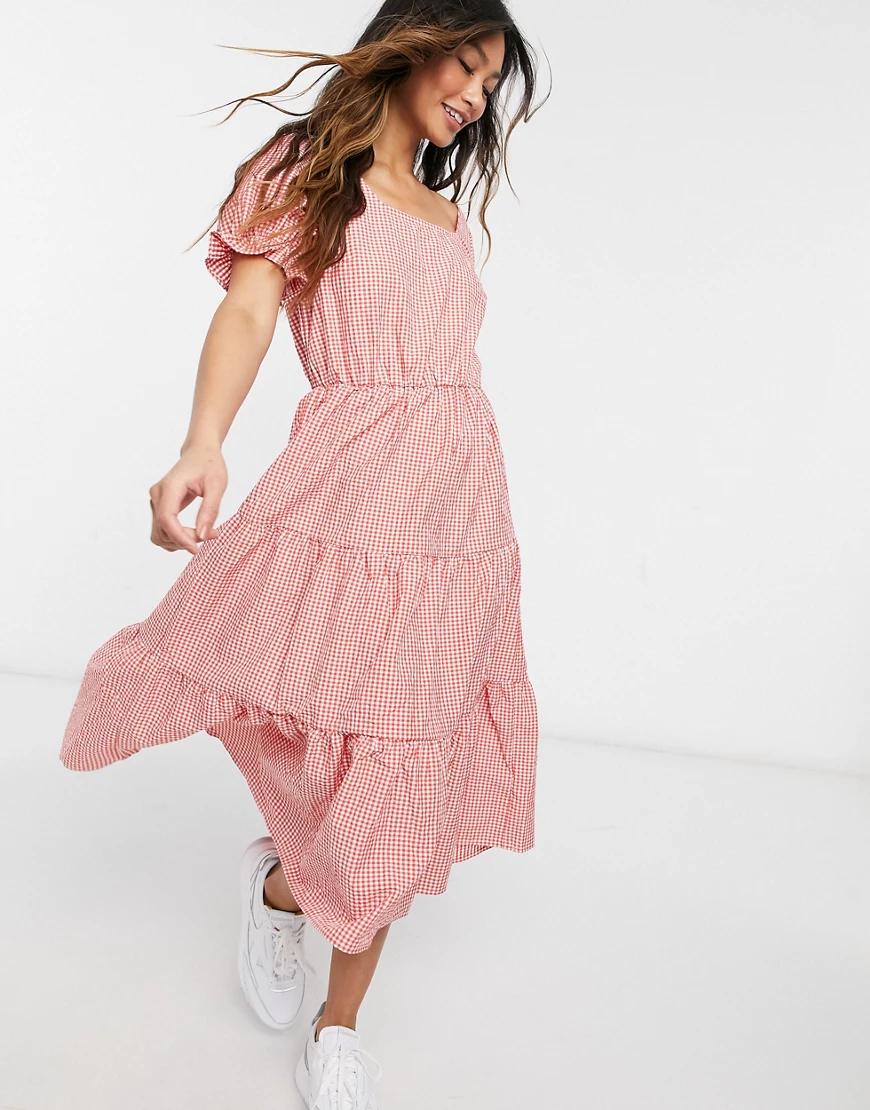 Y.A.S. | Платье миди с объемными рукавами и поясом Y.А.S-Красный | Clouty