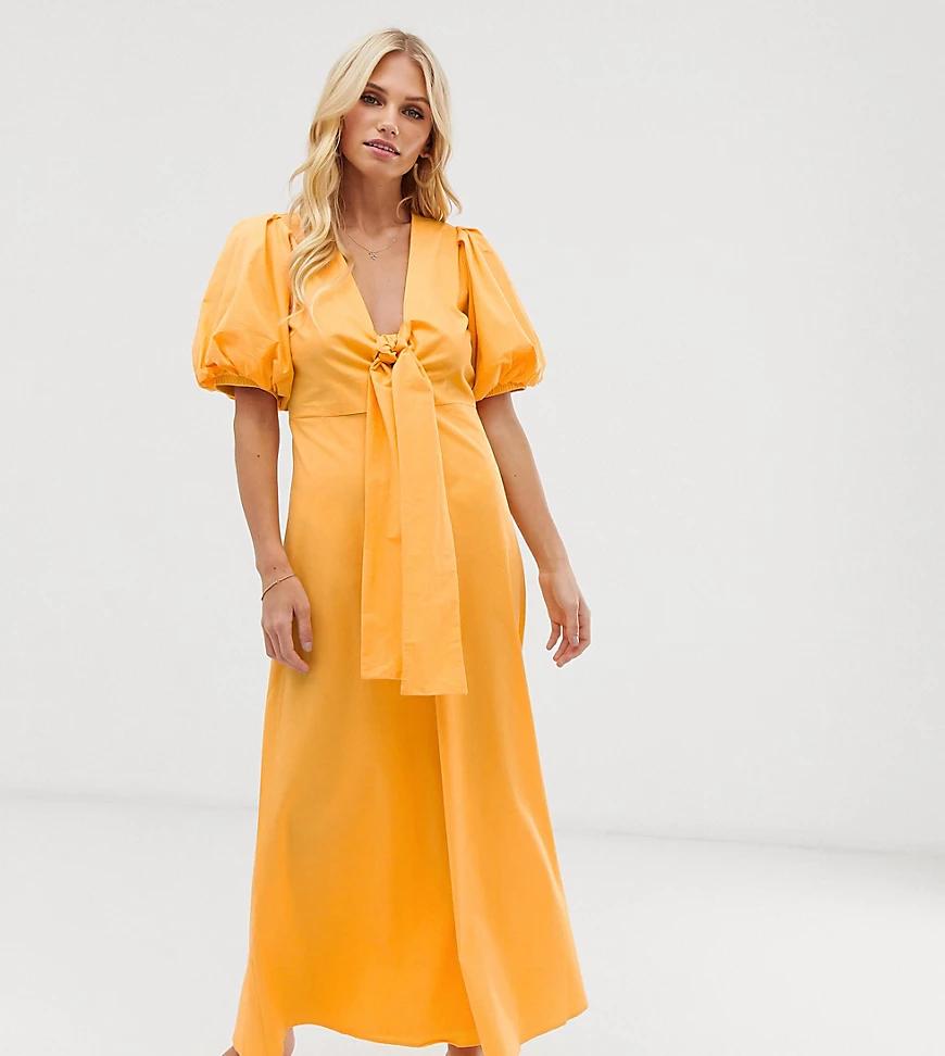 Y.A.S. | Платье миди с объемными рукавами и завязкой спереди Y.А.S-Желтый | Clouty