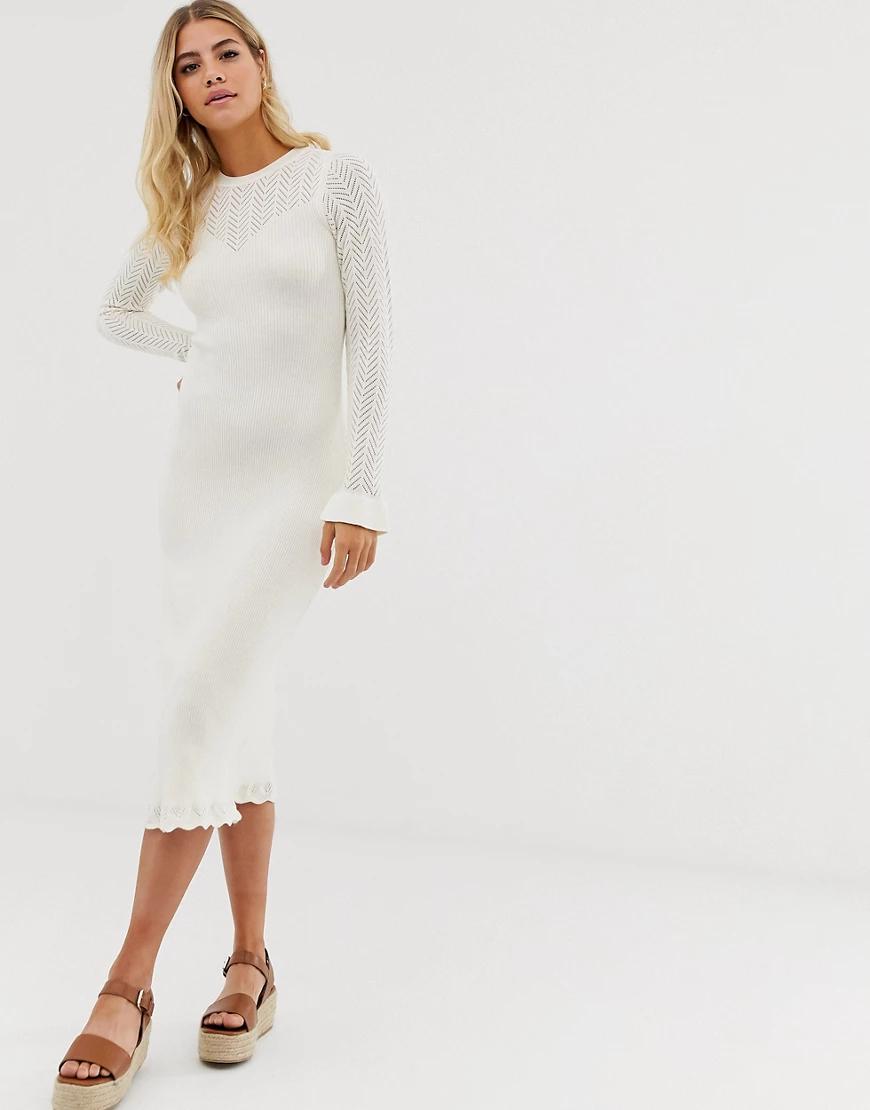 ASOS DESIGN | Платье миди с ажурной вставкой ASOS DЕSIGN-Кремовый | Clouty