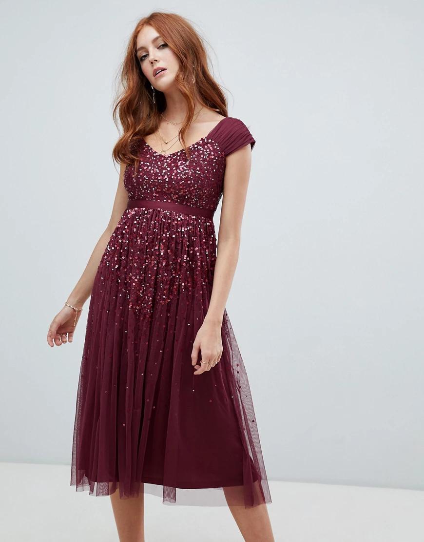 Amelia Rose  | Платье миди с эффектом омбре, пайетками и ремешком Amelia Rоsе-Красный | Clouty