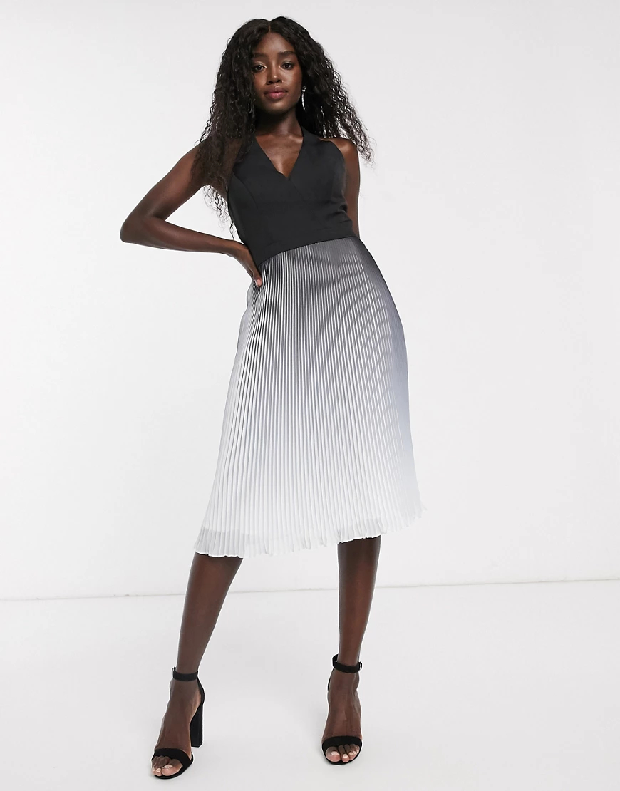 Chi Chi London   Платье миди с эффектом деграде и плиссировкой Chi Chi London-Черный   Clouty