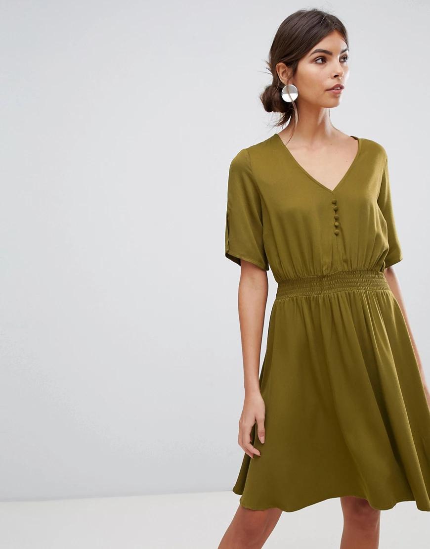 Y.A.S. | Платье миди с эластичным поясом Y.А.S-Зеленый | Clouty