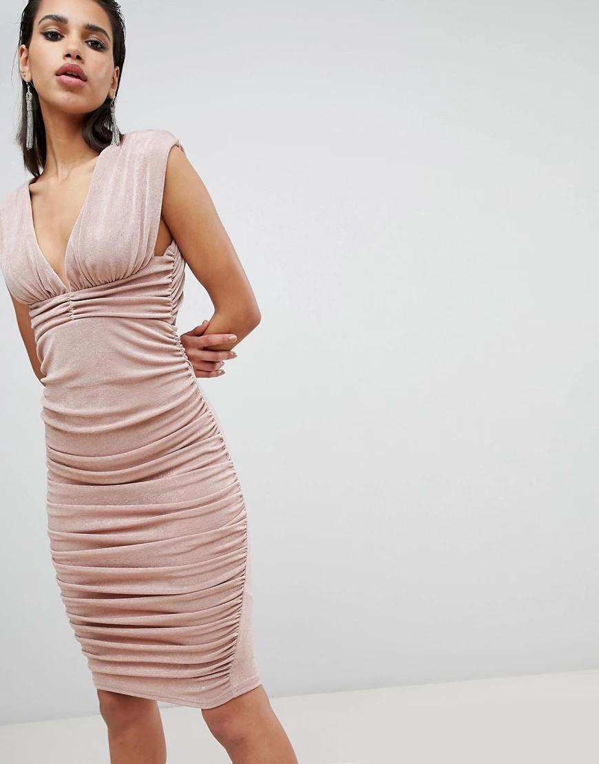 ASOS DESIGN | Платье миди с глубоким вырезом сзади ASOS DЕSIGN-Розовый | Clouty