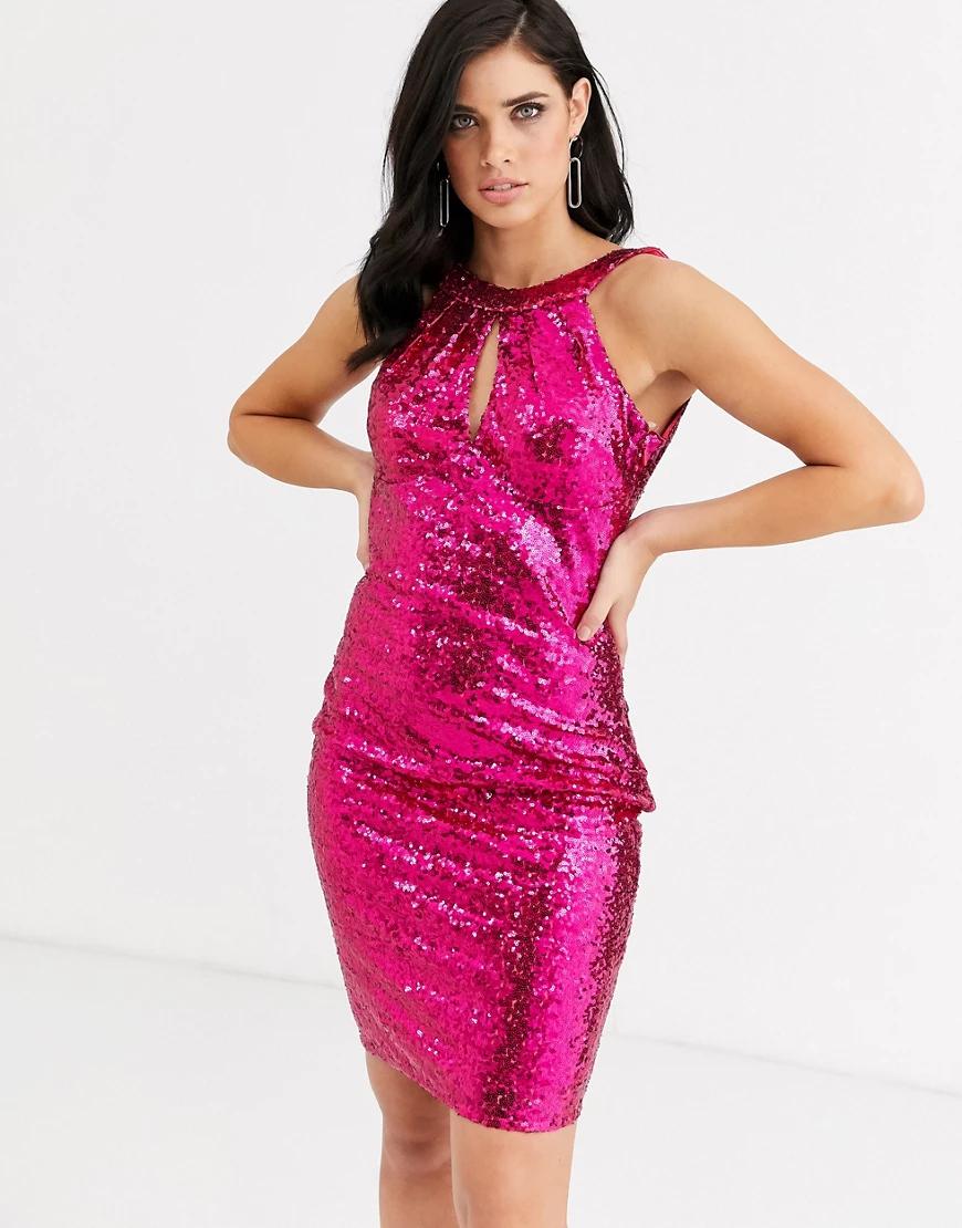 City Goddess | Платье миди с халтером и пайетками City Goddess-Розовый | Clouty