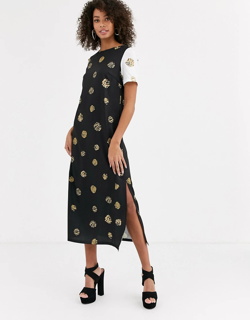 Never Fully Dressed | Платье миди с контрастными рукавами и леопардовым принтом Never Fully Dressed-Myльтu | Clouty