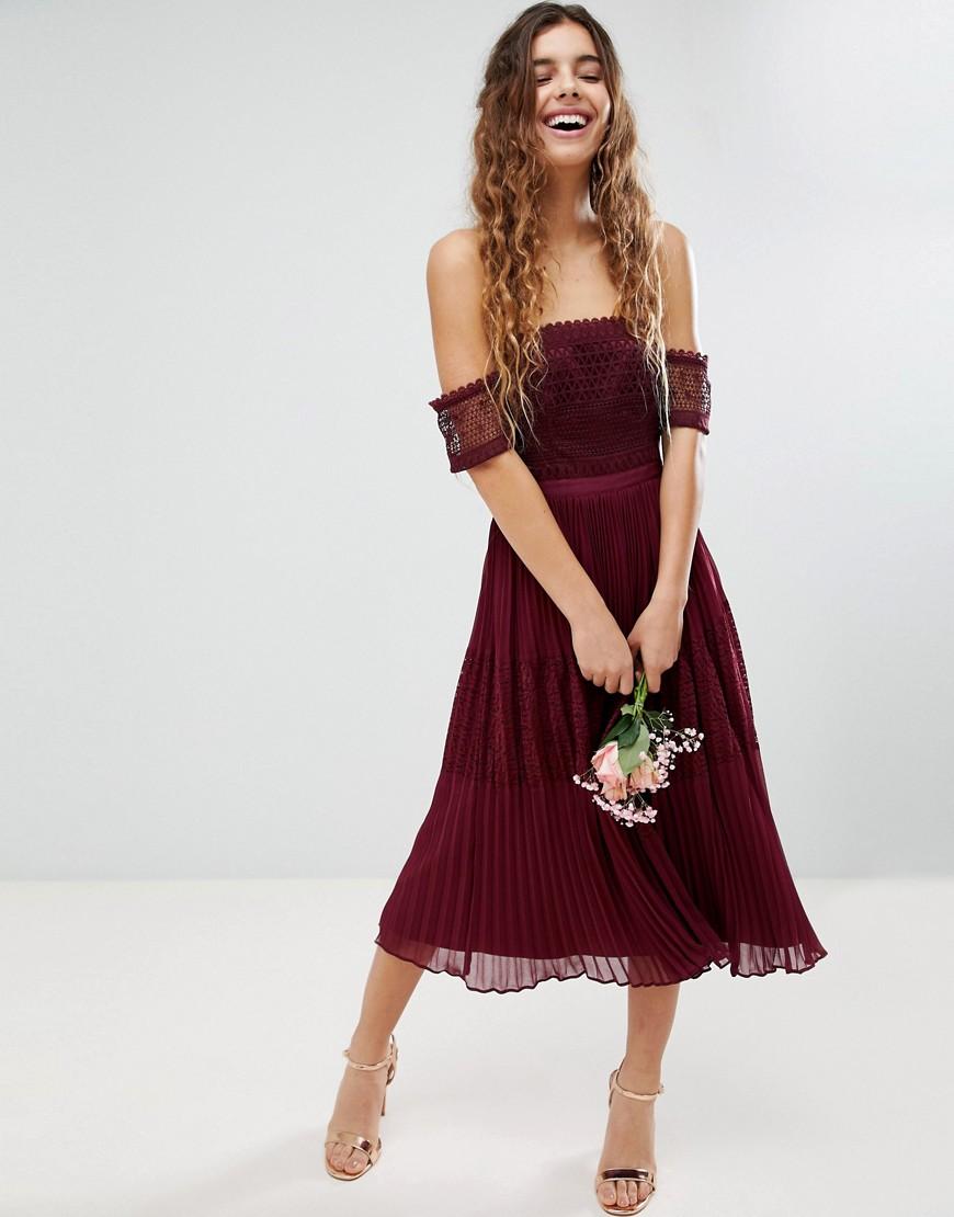 ASOS DESIGN | Платье миди с кружевом ASOS Premium Guipure-Красный | Clouty