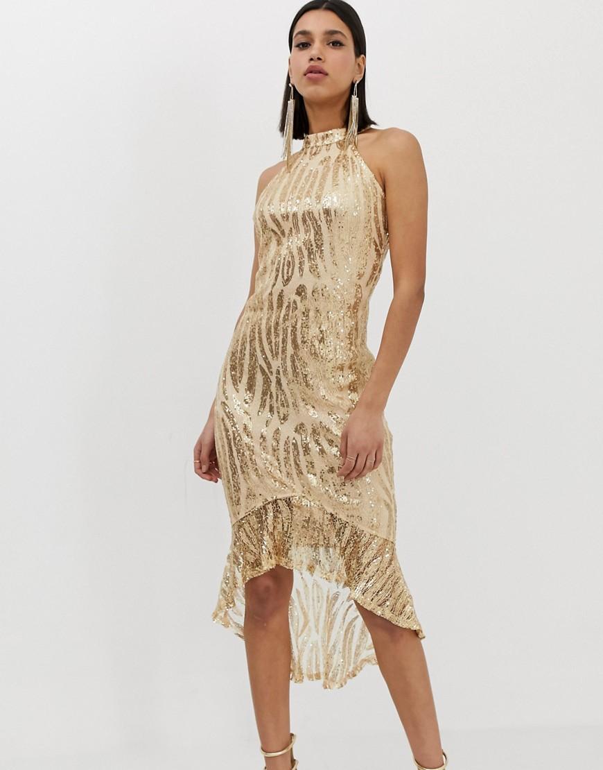 Ax Paris | Платье миди с пайетками и высоким воротом AX Раris-Золотой | Clouty