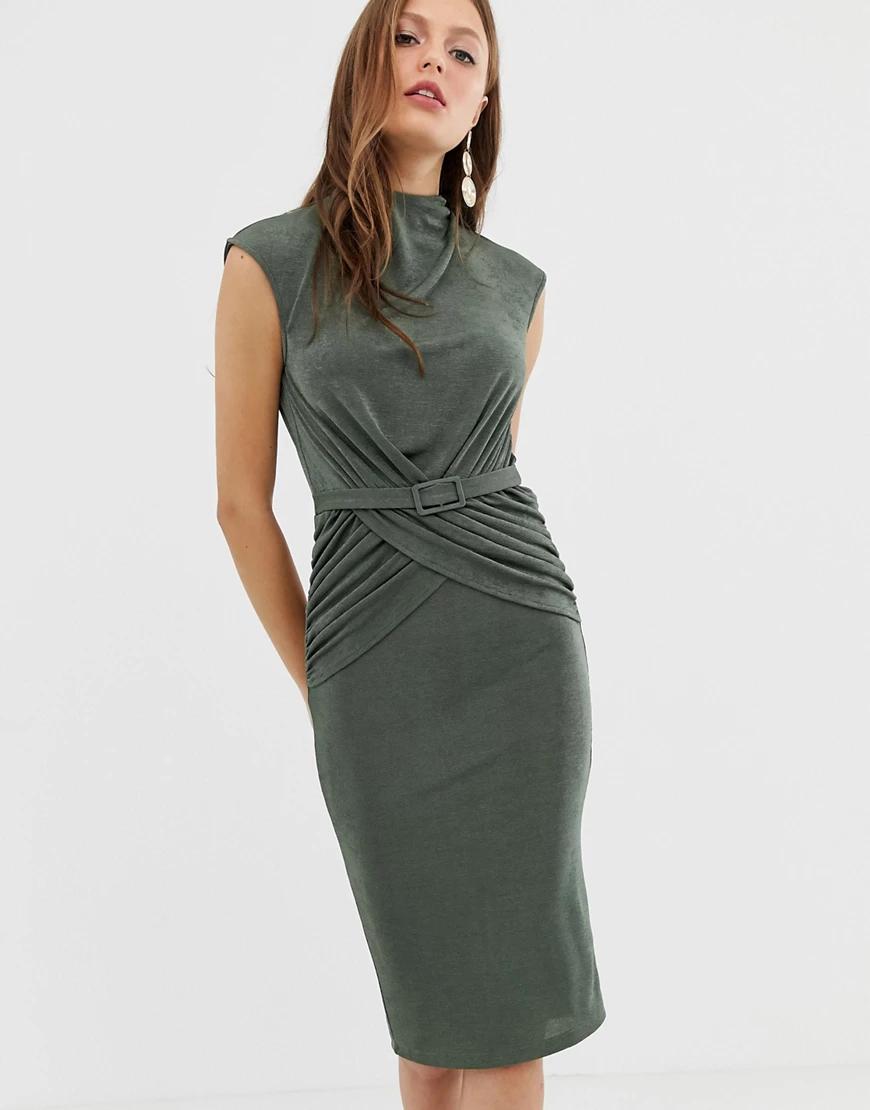 ASOS DESIGN | Платье миди с поясом и запахом ASOS DЕSIGN-Зеленый | Clouty
