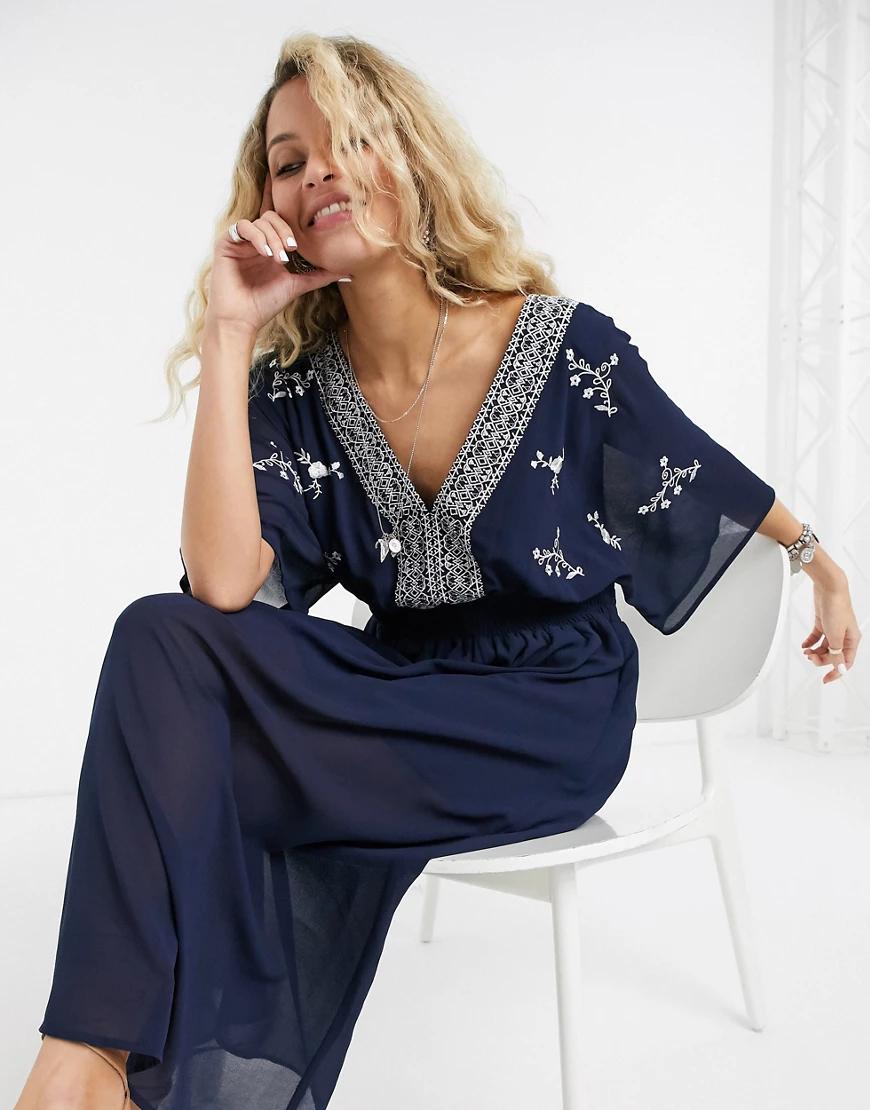En Creme | Платье миди с рукавами кимоно и вышивкой En Сrеmе-Темно-синий | Clouty