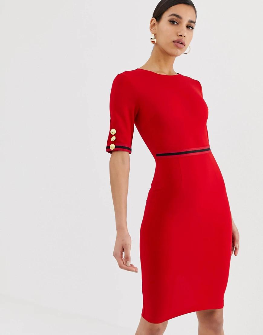 Ax Paris | Платье миди с ремнем AX Раris-Красный | Clouty