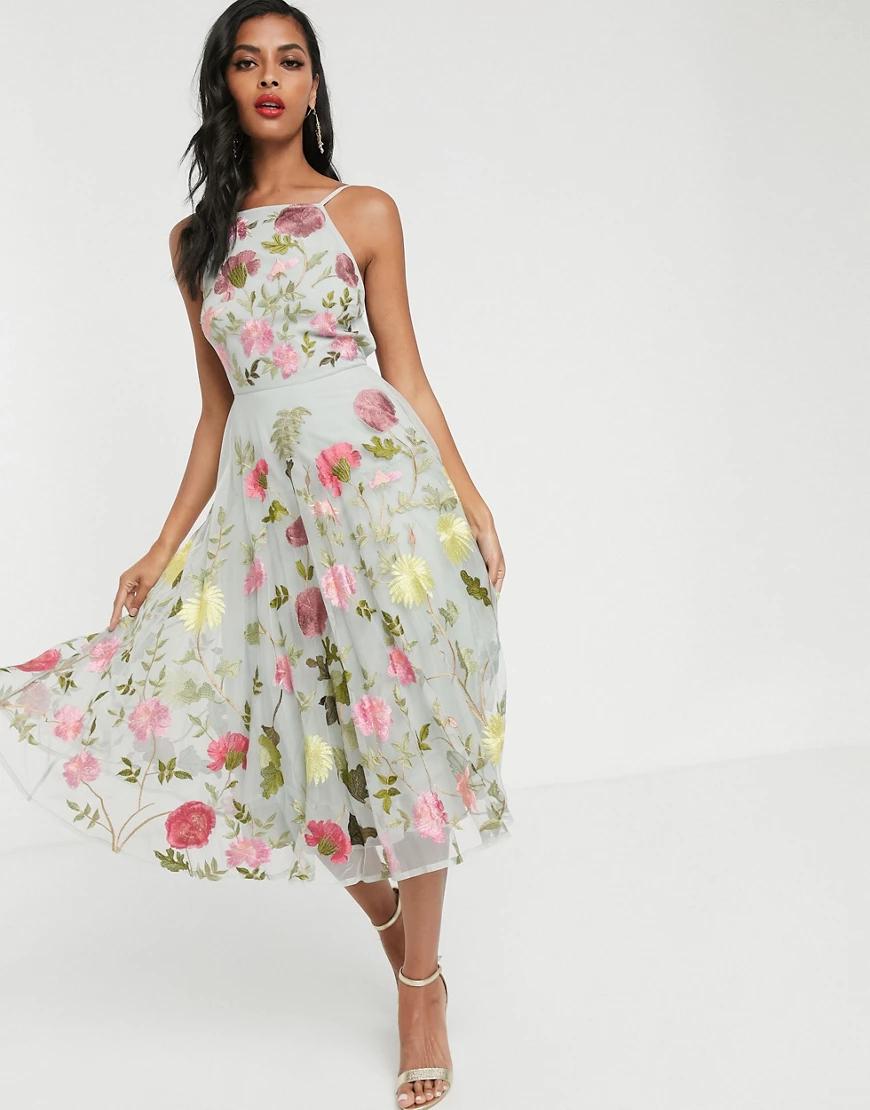 ASOS   Платье миди с цветочной вышивкой и халтером ASOS EDITION-Myльтu   Clouty