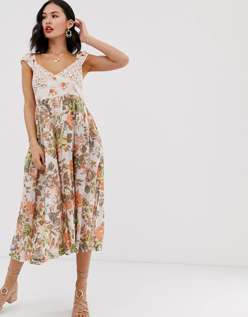 Free People | Платье миди с цветочным принтом Free People Love Yои-Белый | Clouty