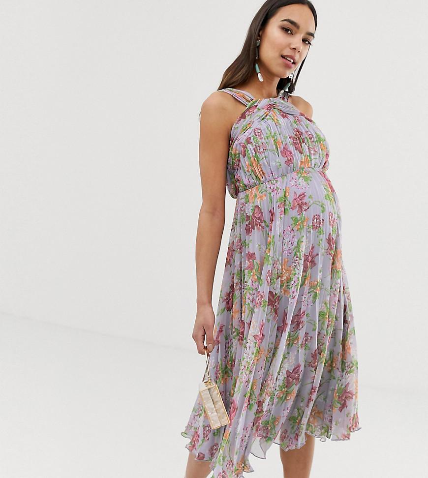 ASOS DESIGN | Платье миди с цветочным принтом и высоким воротом ASOS DESIGN Maternity-Myльтu | Clouty