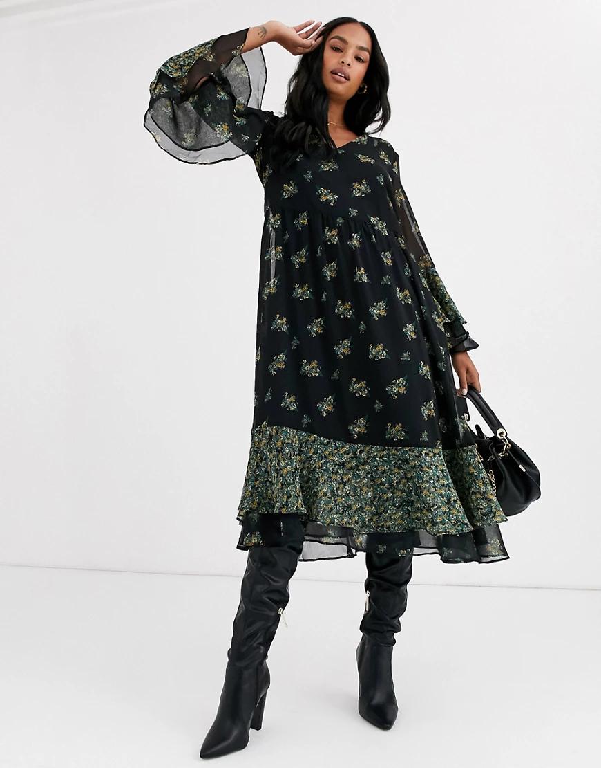 Y.A.S.   Платье миди с цветочным принтом и объемным нижним краем Y.А.S-Черный   Clouty