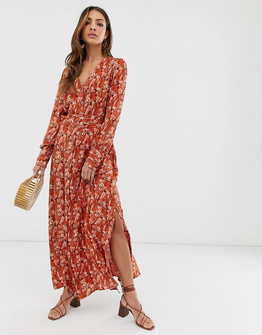 Y.A.S. | Платье миди с цветочным принтом и ремнем Y.А.S-Красный | Clouty