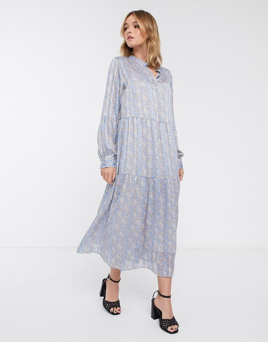 Levete Room | Платье миди с цветочным принтом Levete Rооm-Синий | Clouty