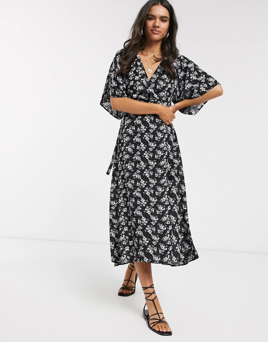 Liquorish | Платье миди с цветочным принтом Liquorish-Чepный | Clouty