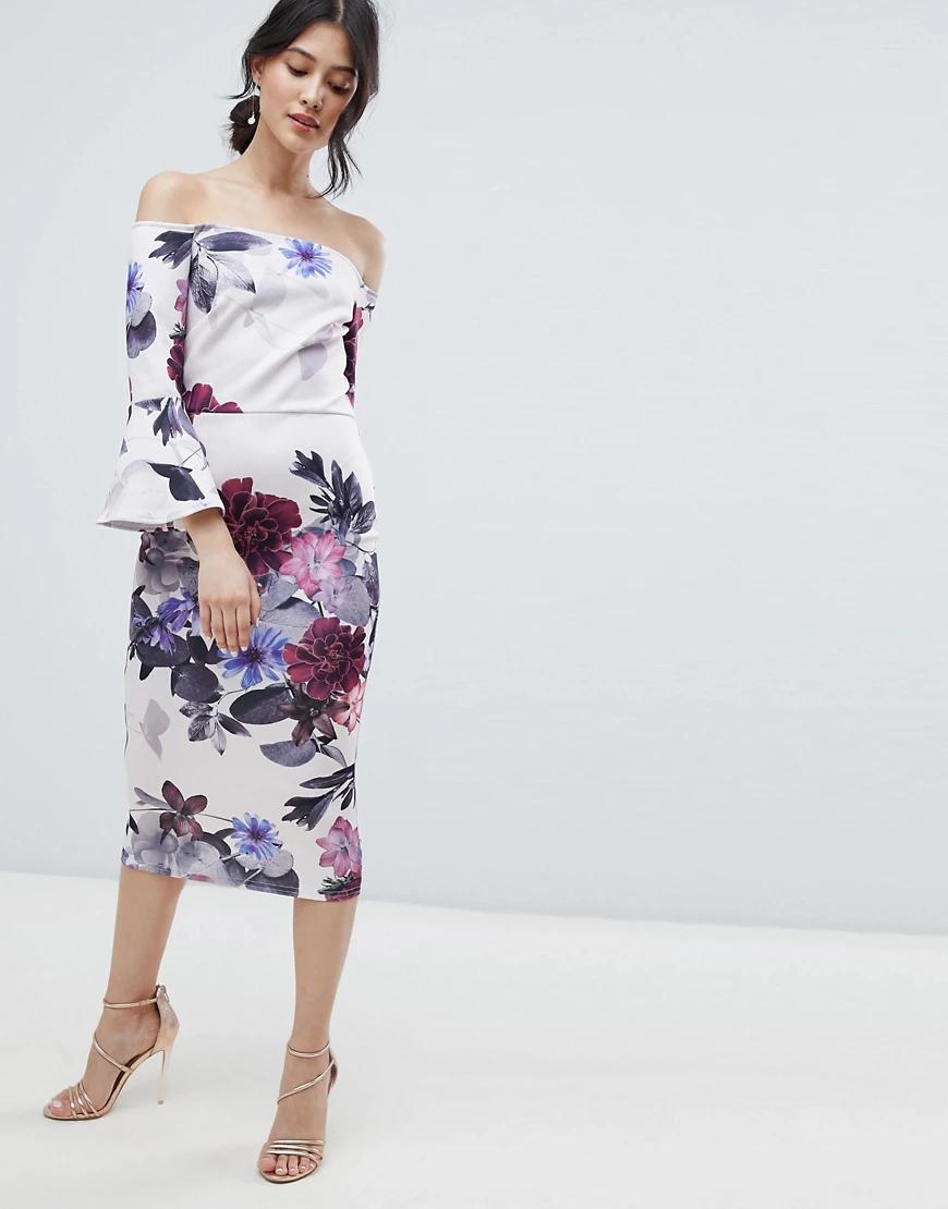 True Violet | Платье миди с цветочным принтом, широким вырезом и оборками True Violet-Мульти | Clouty