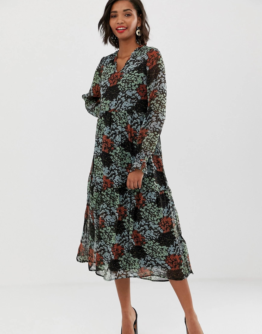 Y.A.S. | Платье миди с цветочным принтом в стиле ретро Y.А.S-Черный | Clouty