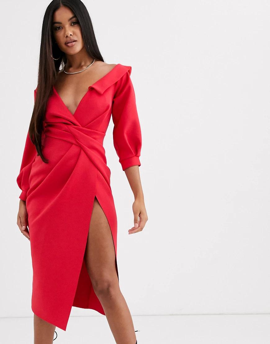 ASOS DESIGN | Платье миди с узлом спереди ASOS DЕSIGN-Красный | Clouty