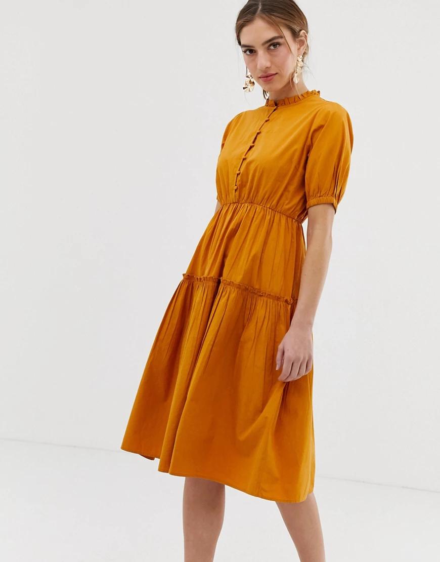 Y.A.S. | Платье миди с высоким воротом и объемными рукавами Y.А.S-Коричневый | Clouty
