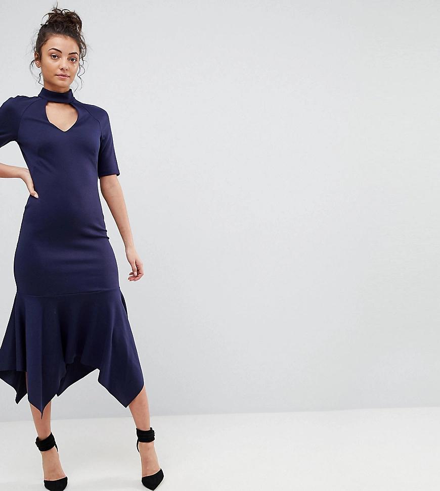 ASOS | Платье миди с высоким воротом и оборкой ASOS ТАLL-Темно-синий | Clouty